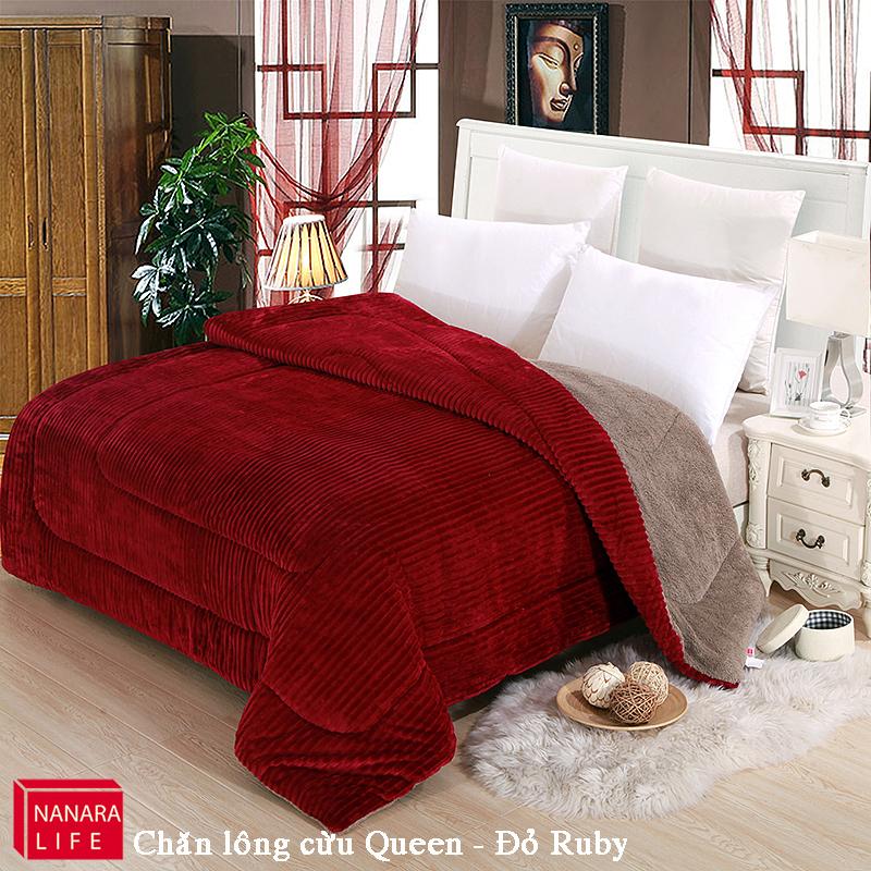 Chăn lông cừu Queen màu đỏ RUBY 2mx2m3