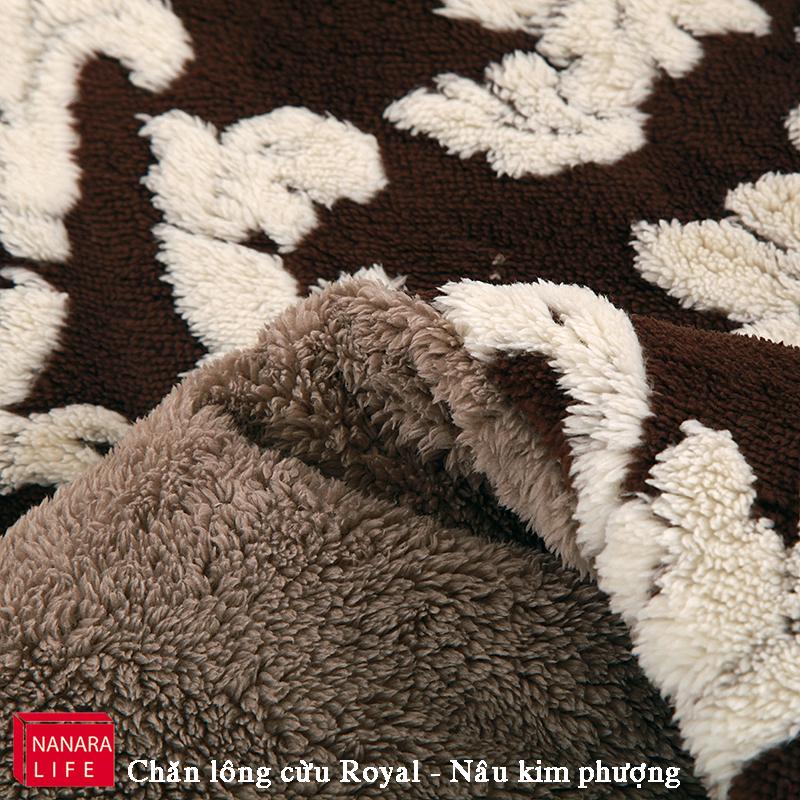 Ảnh chi tiết màu lông cừu của chăn lông cừu Royal