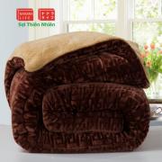 Chăn lông cừu chữ vạn màu cafe
