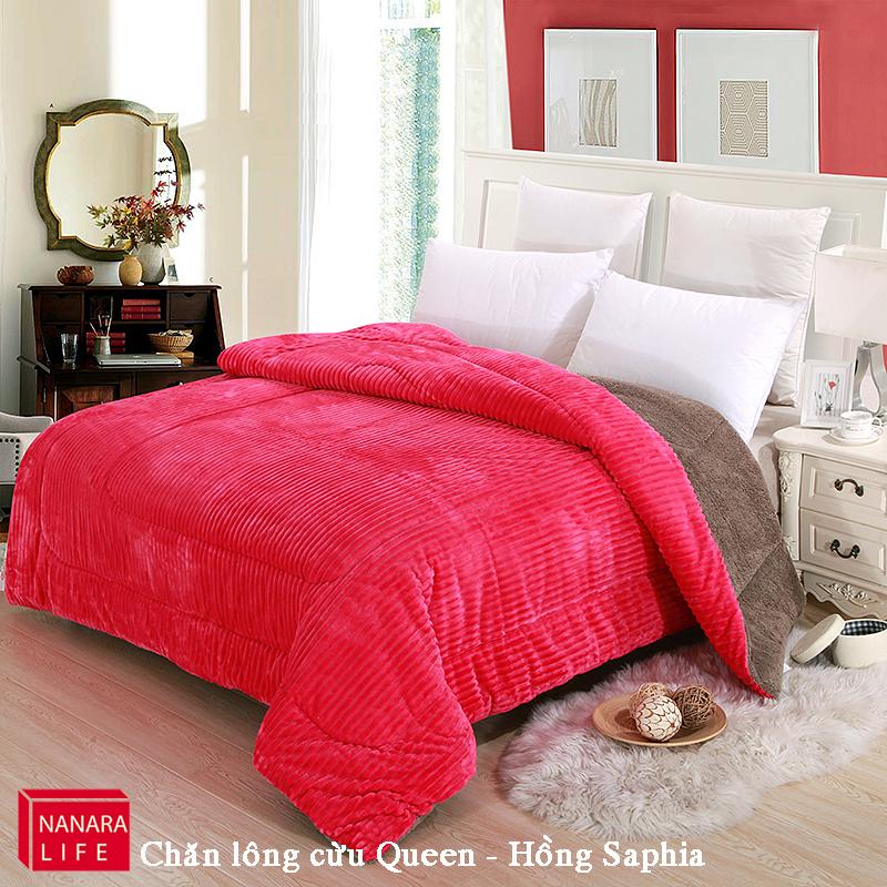 Chăn lông cừu Queen màu hồng saphia 2mx2m3