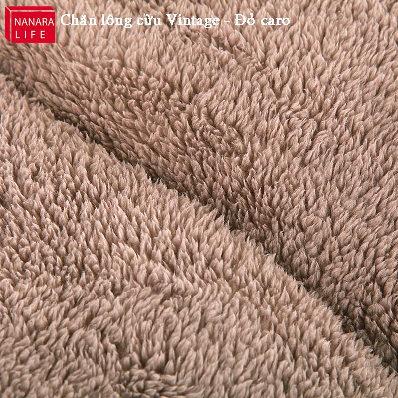 Chăn lông cừu Vintage màu kẻ xanh - Bề mặt lông vừu